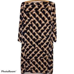 Chaus Dress - Black Tan & White Geometric Print